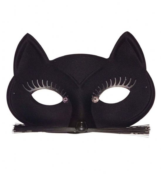 Black Cat Eyemask with Eyelashes Whiskers Animal Fancy Dress